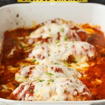 Lasagna Stuffed Chicken - Keto comfort food! Tender chicken breasts are stuffed with a ricotta filling and smothered in marinara sauce and mozzarella cheese.