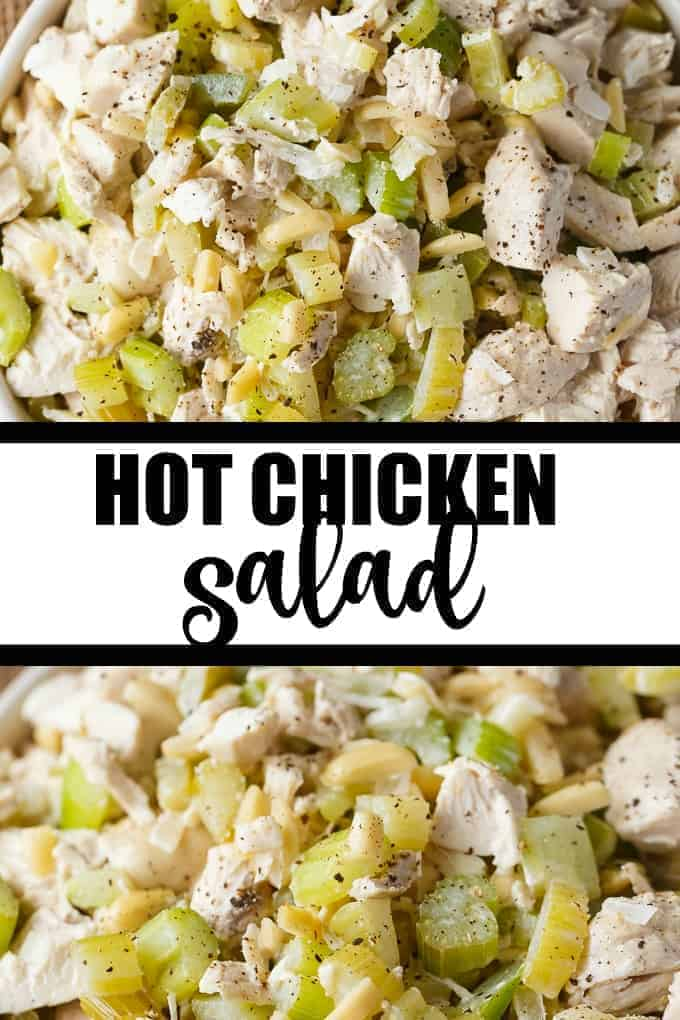 Hot Chicken Salad - A delicious way to use up leftover chicken to enjoy on a cold day. Served hot, this easy salad is made with tender chicken, celery, green pepper and slivered almonds enveloped in a creamy flavourful dressing.