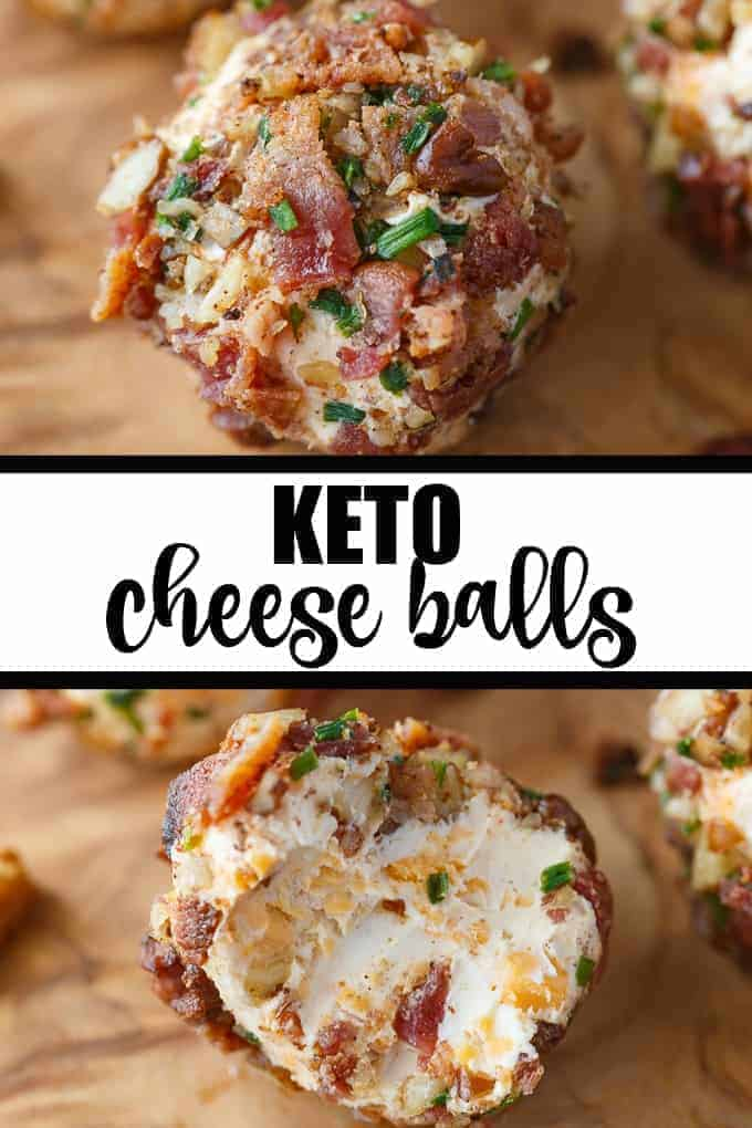 Keto Cheese Balls - Bite sized cheese balls make a delicious low carb appetizer! Flavorful cream cheese balls are rolled in a mixture of bacon, chives and pecans.