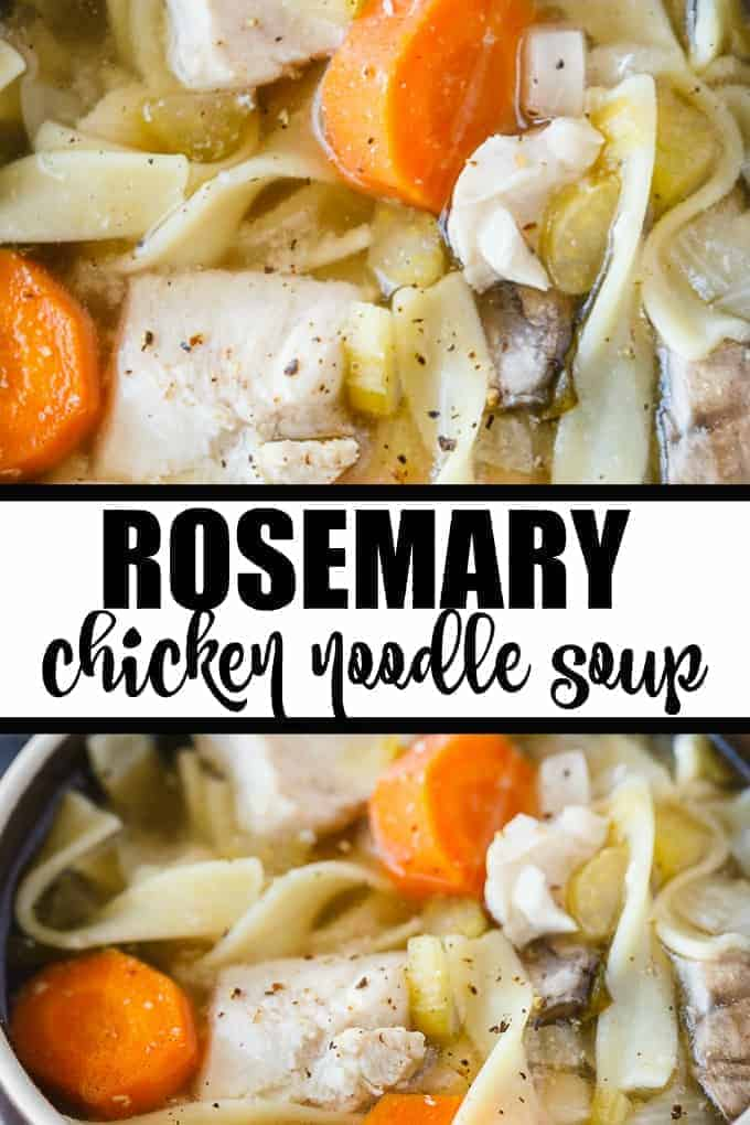 Rosemary Chicken Noodle Soup - Slow cooker comfort food supreme! This flavorful soup hits the spot on a cold day. Packed full of tender chicken, noodles, veggies and rosemary.