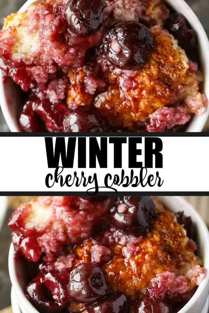 Winter Cherry Cobbler - Super easy and tastes like a dream! Tart cherries are baked in their sweet juices and topped with cake. It's bubbly and delicious.
