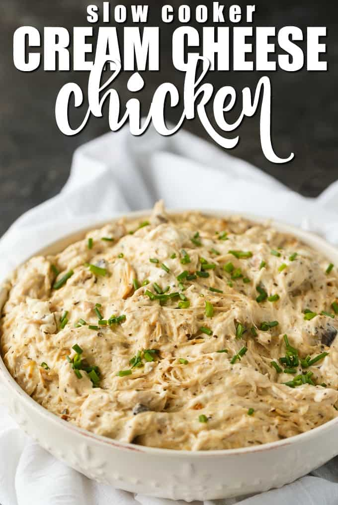 Slow Cooker Cream Cheese Chicken is creamy delicious comfort food. Tender chicken is slow cooked in a creamy base to make this dish a memorable meal for your family.