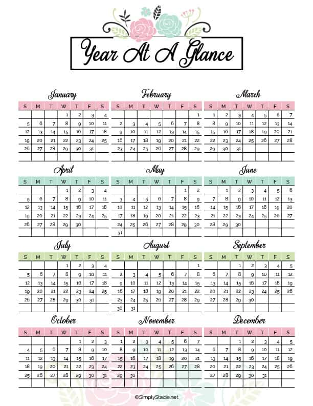 Get organized in the new year with this 2020 Yearly Calendar free printable! It includes a birthday tracker, to-do list, monthly calendars and more.