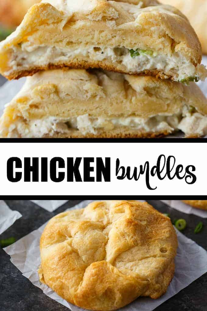 Chicken Bundles - Kids LOVE this easy treat! Creamy chicken salad is surrounded by a flaky golden dough pocket. Perfect for leftover chicken!