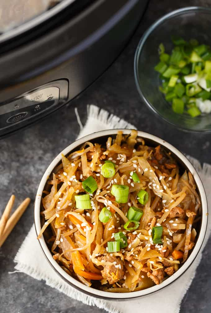 Egg Roll in a Bowl - Everything you love about egg rolls without all the fuss! Forget the wrapper and enjoy the delicious and savoury taste of the inside of an egg roll. So easy to make in your Crock-Pot.