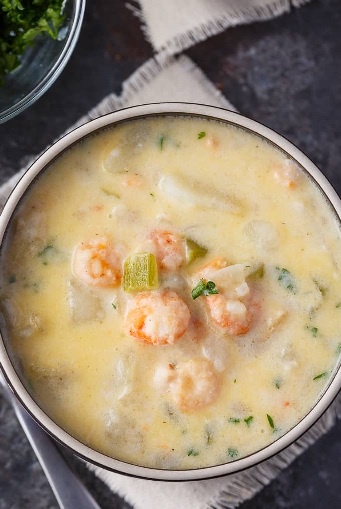 Shrimp Chowder - If you like Clam Chowder, you are going to LOVE this easy Shrimp Chowder recipe. It's even better! Creamy and packed full of shrimp, potatoes, spices and cheese.