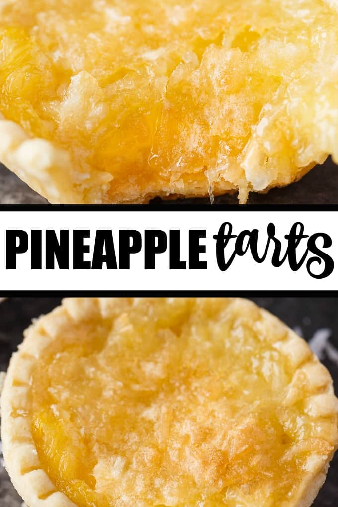 Pineapple Tarts - Melt in your mouth delicious! These easy tarts are filled with sweet pineapple filling topped with a buttery coconut topping.