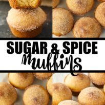 Sugar & Spice Muffins - These cake-like muffins are the perfect treat with a tea or coffee. Enjoy the yummy Snickerdoodle flavors with a cinnamon and sugar topping.