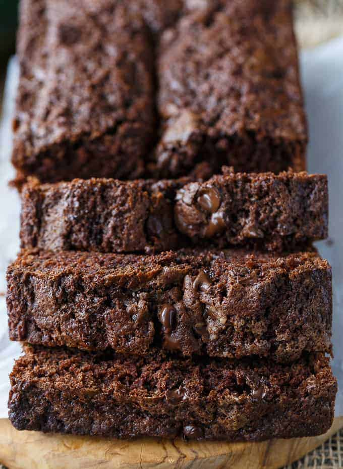 Chocolate Zucchini Bread - You won't even realize there are veggies in this moist and fudgy bread. The sweet rich chocolate flavor is out of this world.