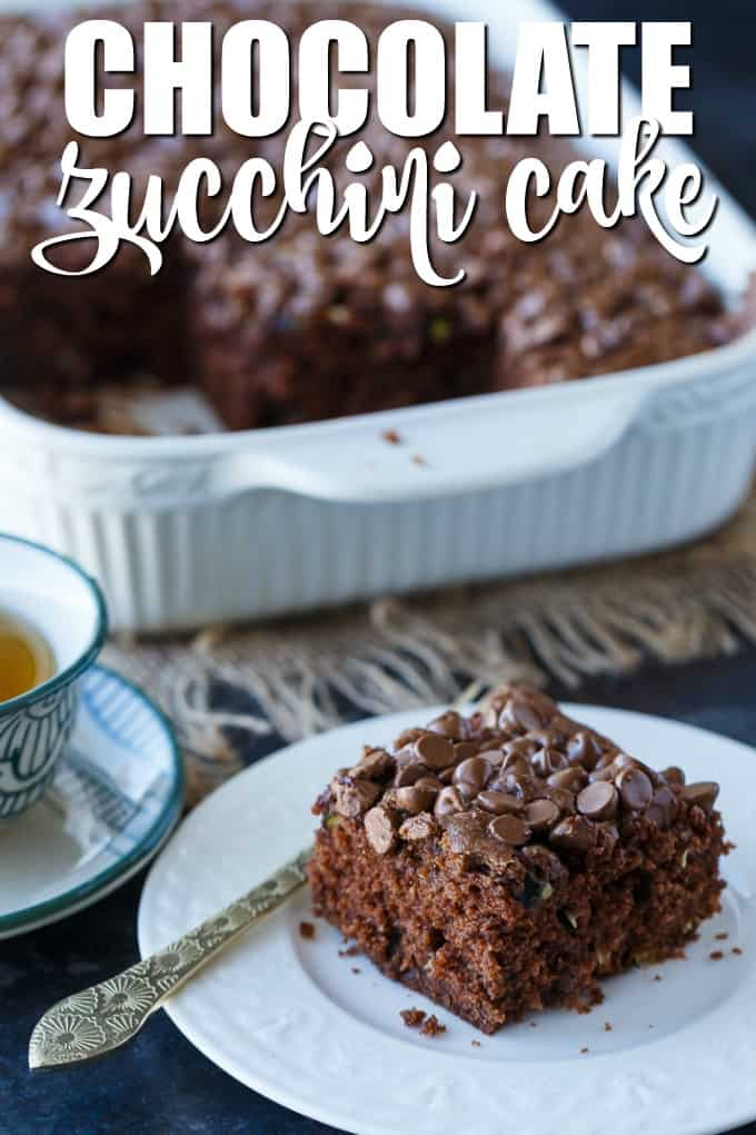 Chocolate Zucchini Cake - Rich, moist and fudgy! This easy cake recipe is the perfect dessert for any chocoholic. The perfect way to use up your garden zucchini.