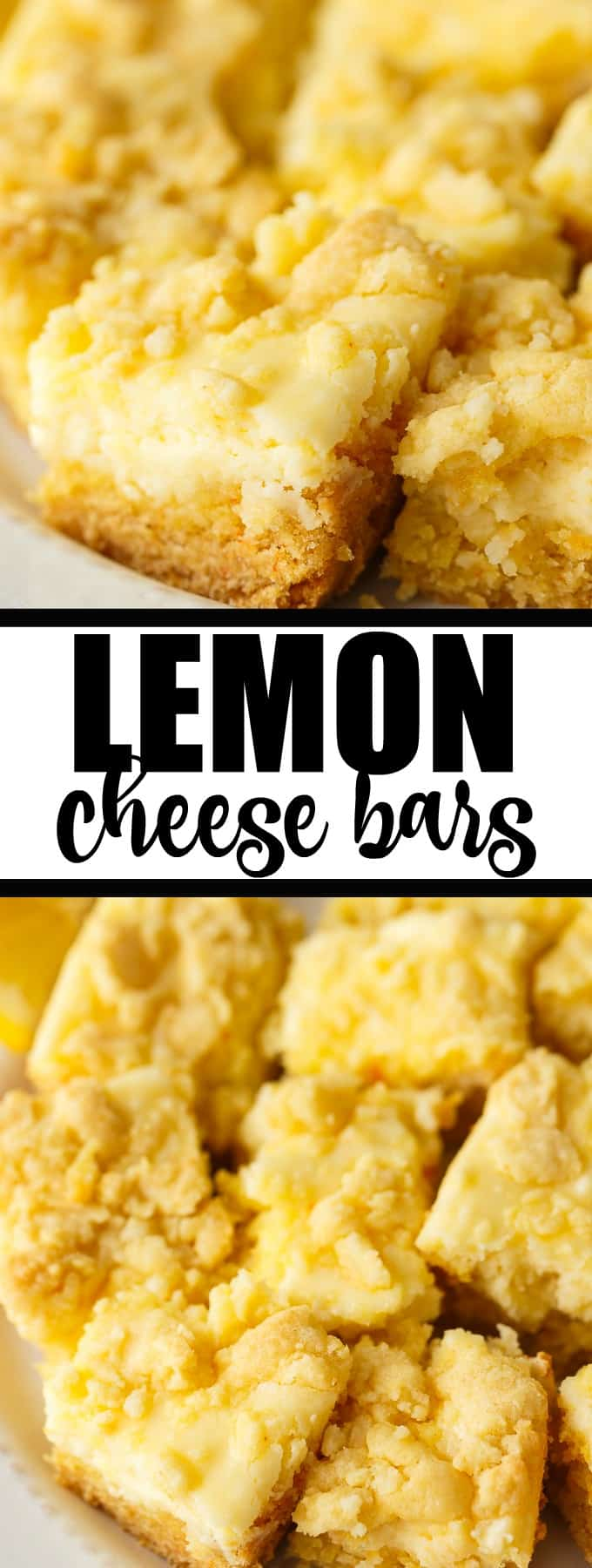 Lemon Cheese Bars - Slightly tart and sweet, this easy dessert is going to be a hit! Save time by using a box of cake mix topped with a lemony cheesecake topping.