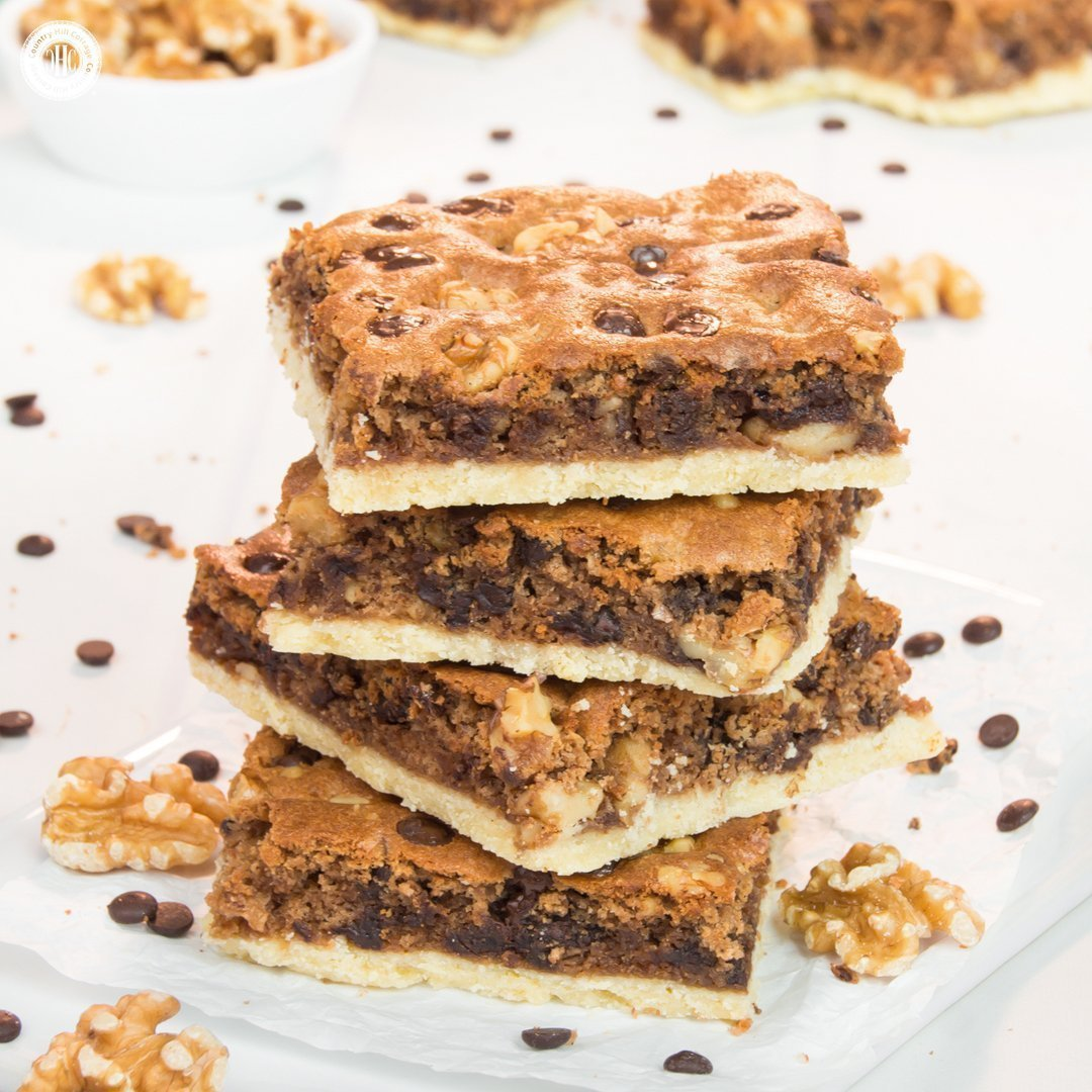 Chocolate Chip Walnut Brownies with a Pastry Crust