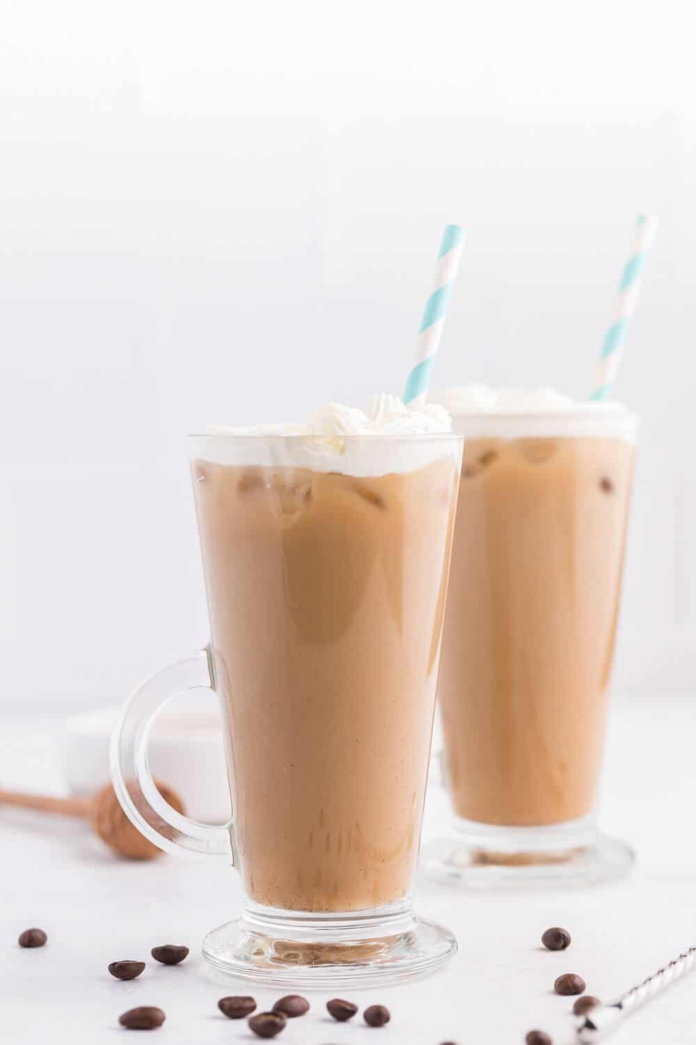 Iced Honey Almond Milk Latte - Get your coffee fix with a creamy, sweet and healthy iced latte recipe.