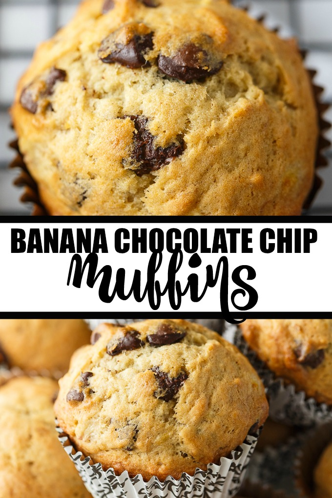 Banana Chocolate Chip Muffins - The perfect way to use up your brown bananas! This easy muffin recipe is incredibly moist and perfectly sweet.