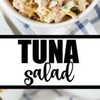 Tuna Salad - A deliciously creamy salad full of yummy flavor. It has a secret ingredient to make it that much more YUMMY! Serve on its own or in a sandwich or wrap.