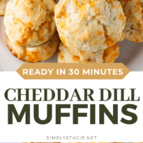 Cheddar Dill Muffins - A delicious savory muffin perfect for breakfast or a quick snack. They are dense and moist with the perfect hint of dill.