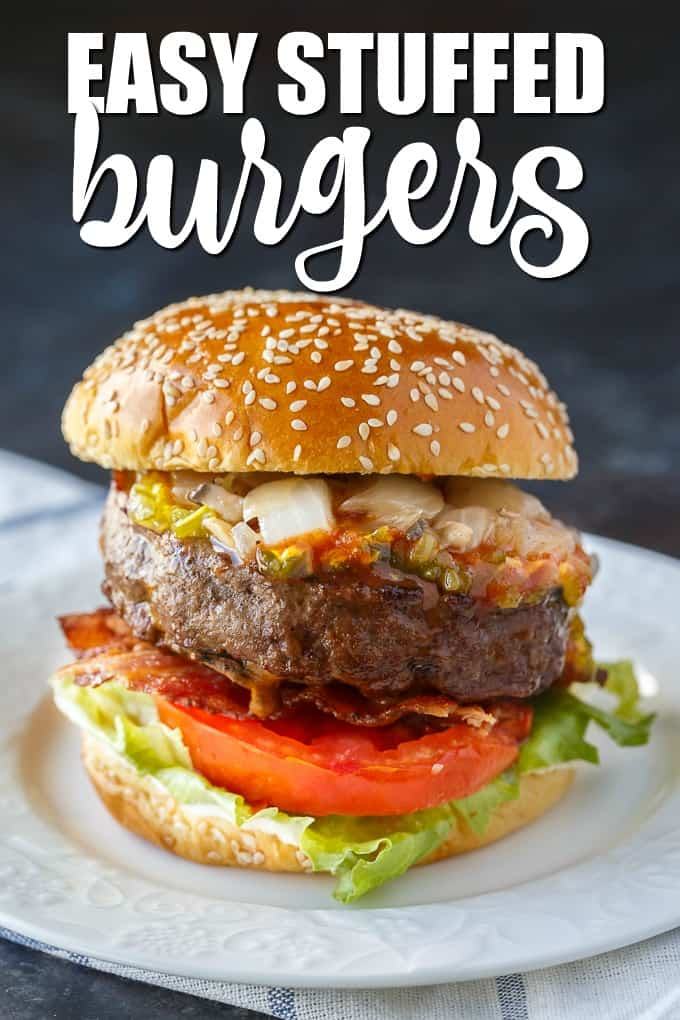 Easy Stuffed Burgers - The easiest stuffed burgers you'll ever make! Tender, juicy and flavorful beef patties are stuffed with cheddar cheese, mushrooms and onions.