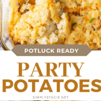 Party Potatoes - Super creamy and cheesy! This easy side dish is perfect for potlucks. Save time by using hash browns!