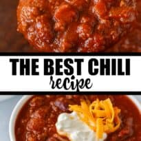 The Best Chili Recipe - My family says this is the BEST chili recipe ever! It's hearty, comforting and flavorful. Made with ground beef, veggies, kidney beans and spices.