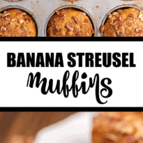 Banana Streusel Muffins - This easy muffin recipe is similar to the muffins you would get at your local coffee shop. They are moist and soft and full of delicious banana flavor. The streusel topping gives a sweet crunch to every bite.