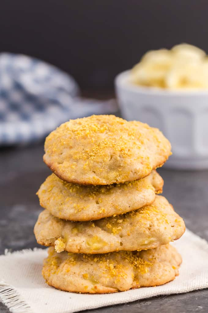 Banana Cookies - These simple cookies taste like banana bread and are the perfect way to use up your ripe bananas. Serve these soft, cake-like treats for breakfast, dessert or a quick snack.