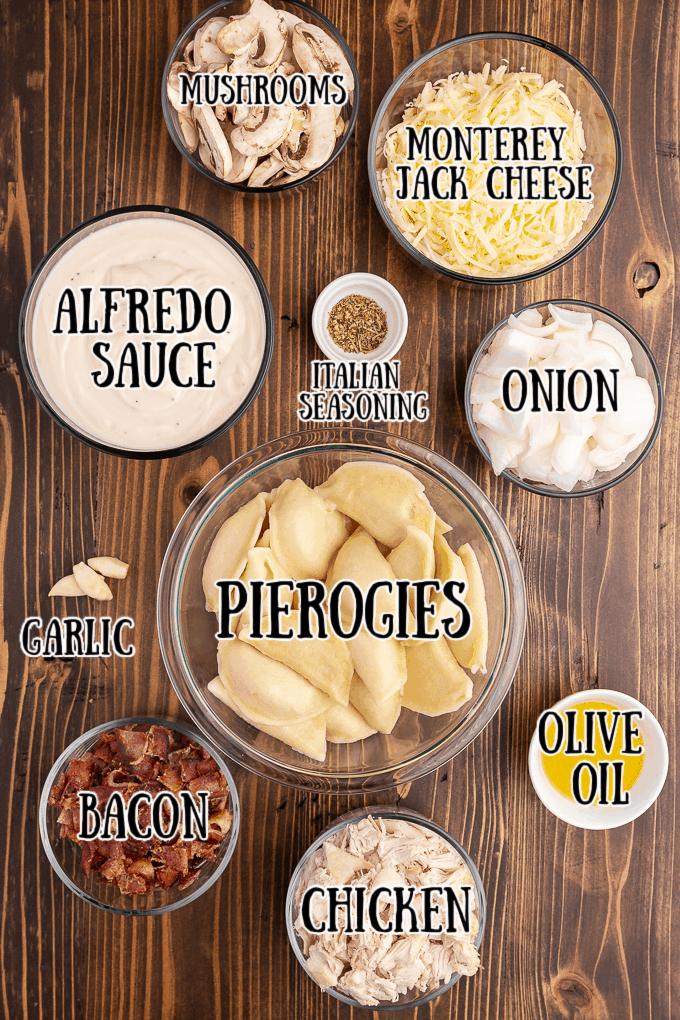 Chicken Alfredo Pierogi Casserole ingredients