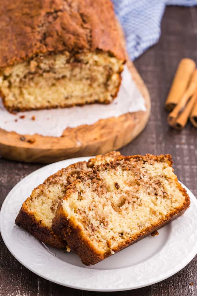 Cinnamon Bread - This homemade quick bread recipe is so simple and incredibly moist with swirls of cinnamon and brown sugar throughout. It's perfect for breakfast, dessert or a snack and even makes a nice Christmas gift.