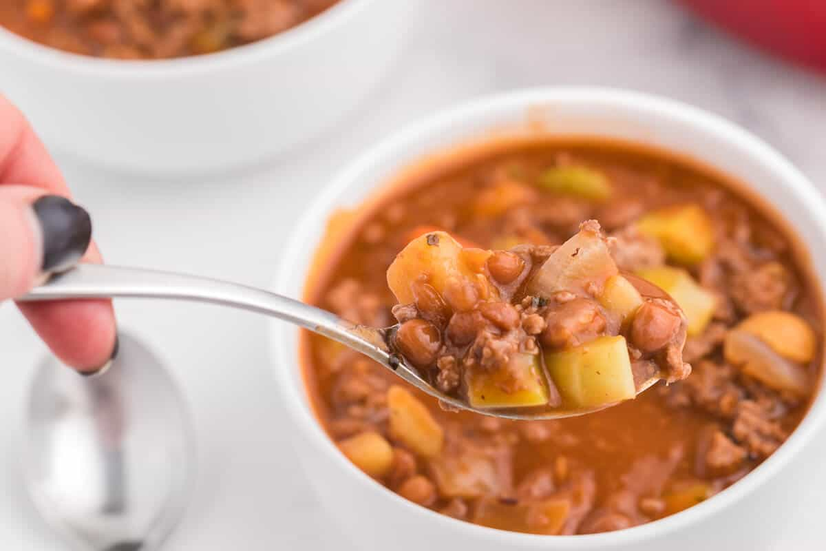 Hodge Podge Soup - A hearty soup recipe like grandma used to make. It's a clean out your kitchen kind of meal with two cans of soup, pork and beans, ground beef and celery. Perfect for busy days!