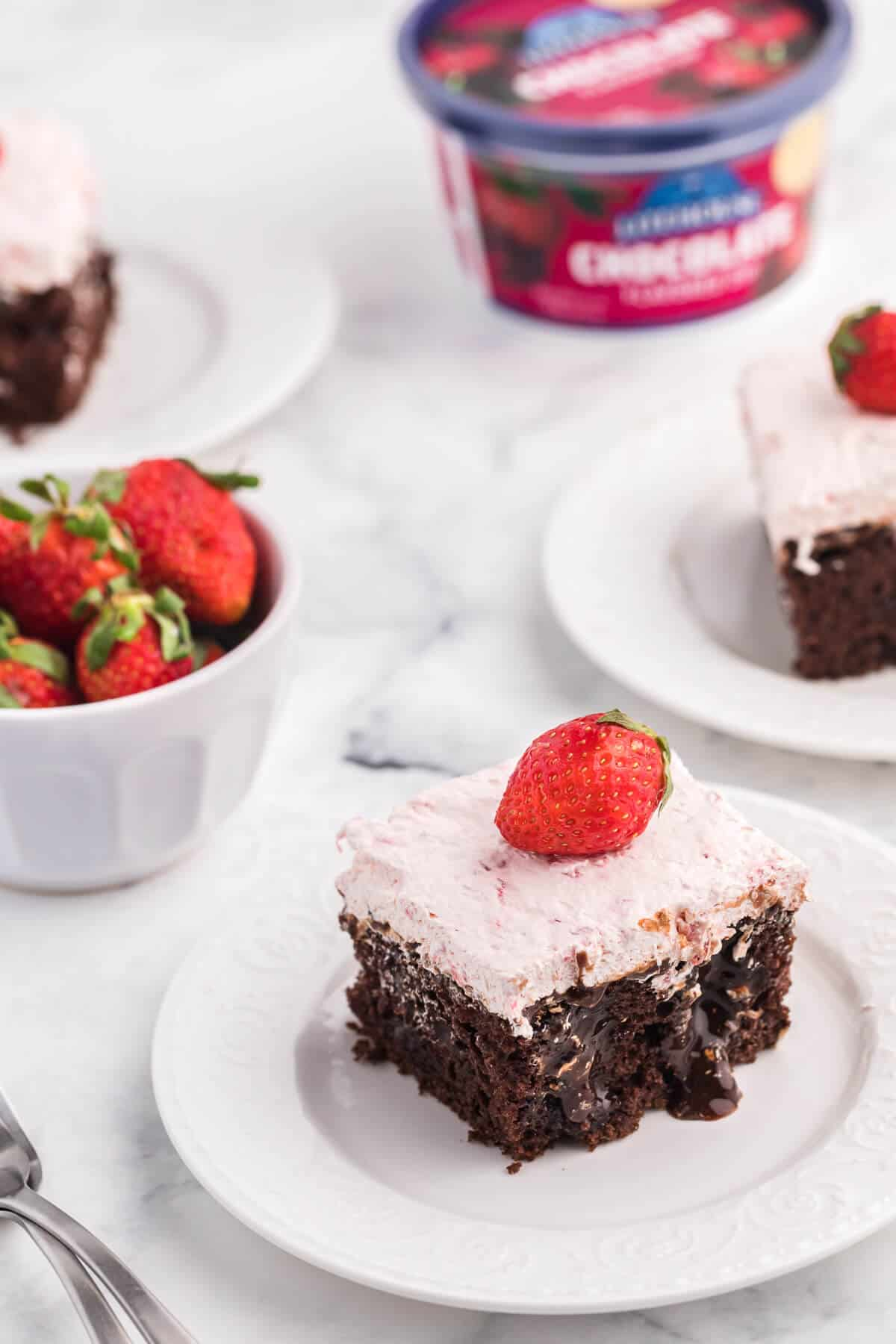 Strawberry and Chocolate Poke Cake