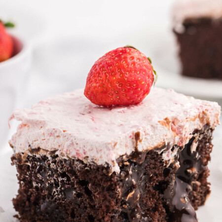 Strawberry and Chocolate Poke Cake