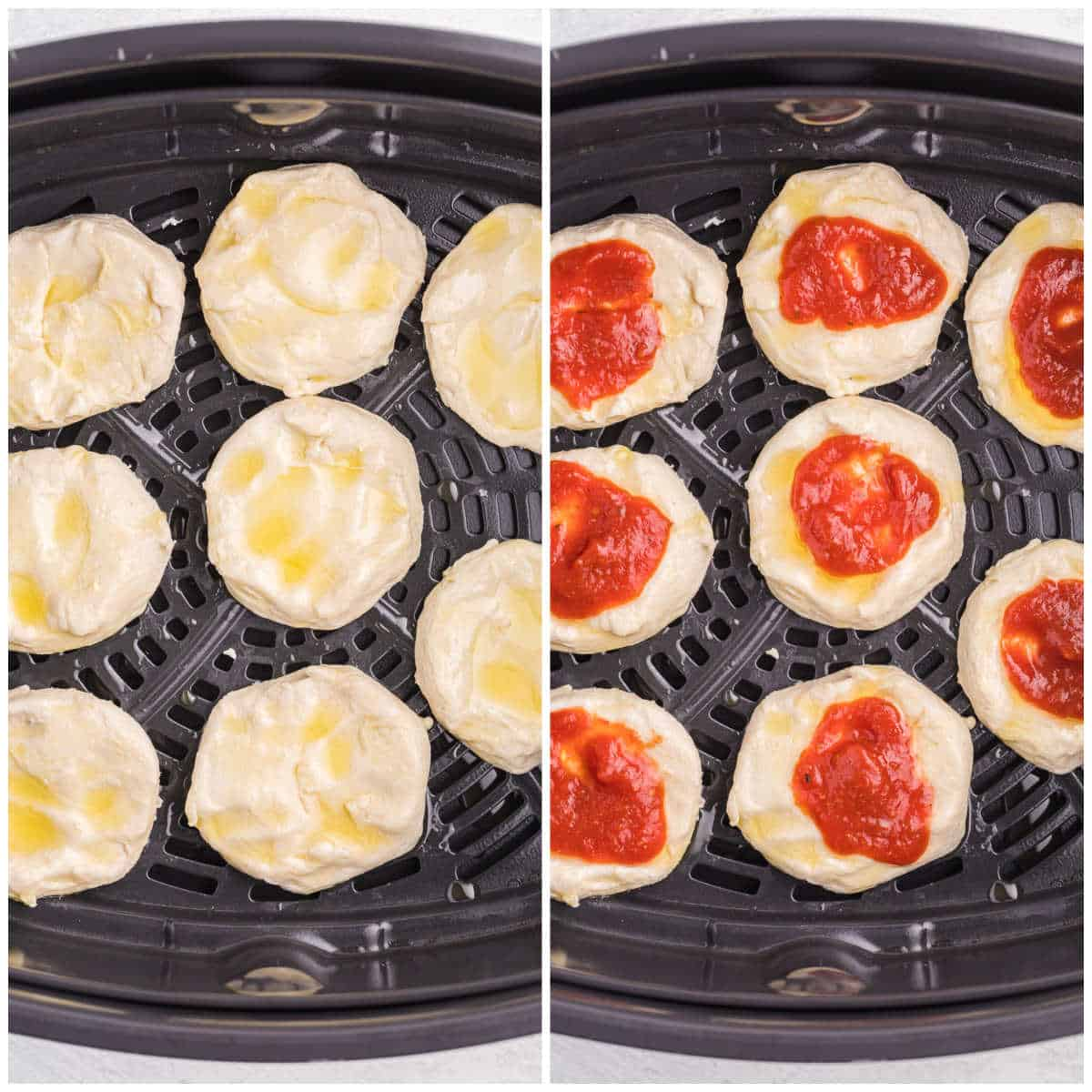 Air Fryer Pizza Buns being prepped in the air fryer.
