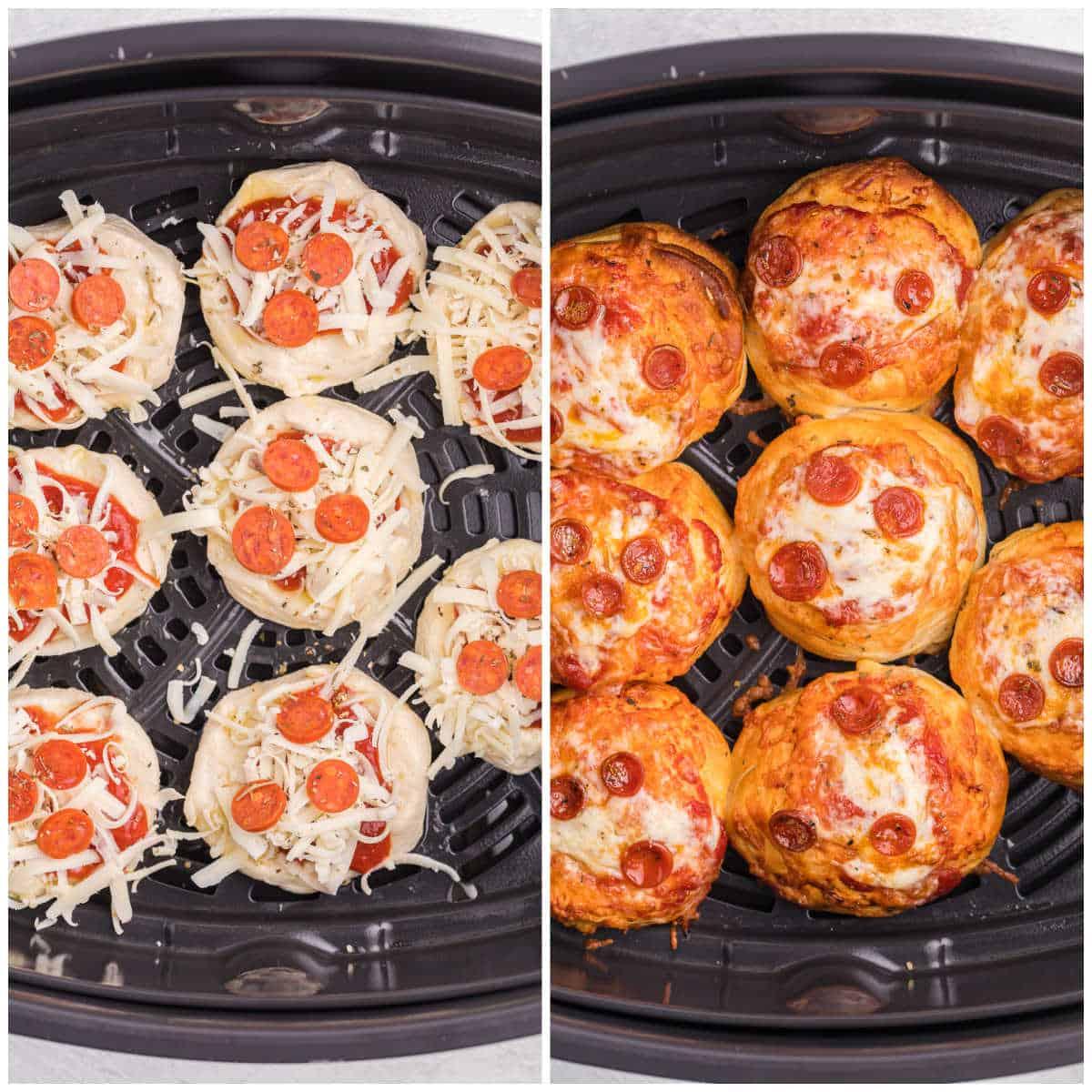 Air Fryer Pizza Buns being prepared in an air fryer basket.