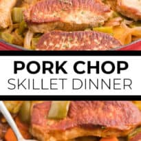 Pork Chop Skillet Dinner Recipe - A simple and delicious one-pan meal! Pork chops are cooked to perfection with potatoes, carrots, onions and green pepper in a tomato sauce with a kick.