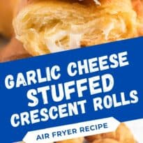 Air Fryer Garlic Cheese Stuffed Crescent Rolls Recipe - Use your air fryer to make this quick and easy snack or appetizer. Pillsbury crescent roll dough is brushed with garlic butter and wrapped around mozzarella cheese. Warning: they are addictive!