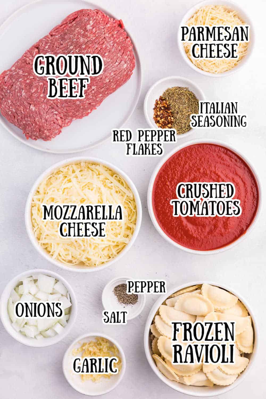 Ingredients for Slow Cooker Ravioli Lasagna