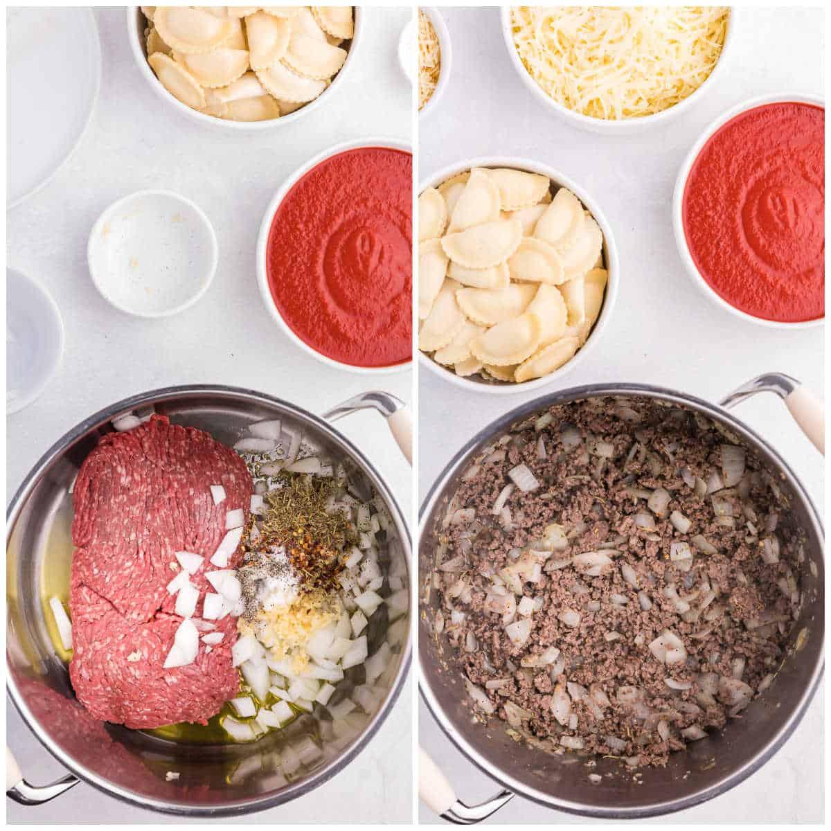 How to make slow cooker ravioli lasagna steps