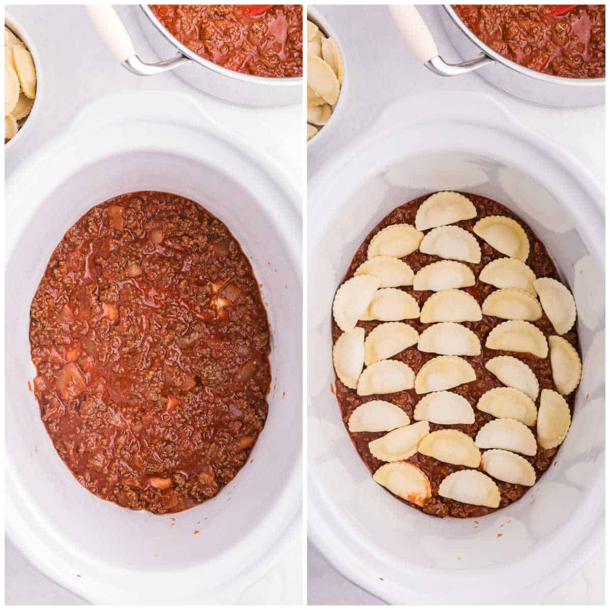 Steps to make slow cooker ravioli lasagna.