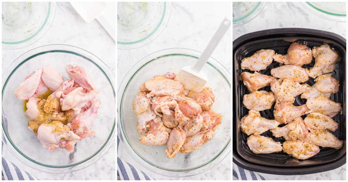 air fryer chicken wings prep