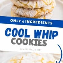 Cool Whip Cookies Recipe - One of the easiest cookie recipes you'll ever make. Grab a box of your favorite cake mix, Cool Whip, an egg and powdered sugar and get started! Create a variety of flavors like lemon, strawberry, red velvet, funfetti, chocolate and more.