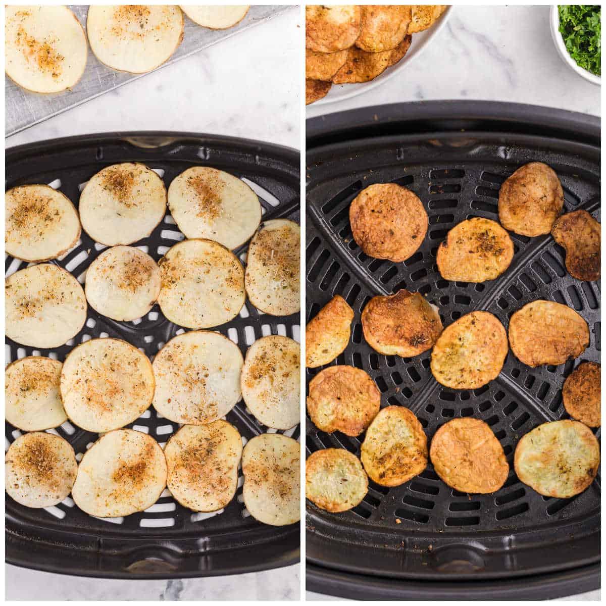 air fryer potato chips prep