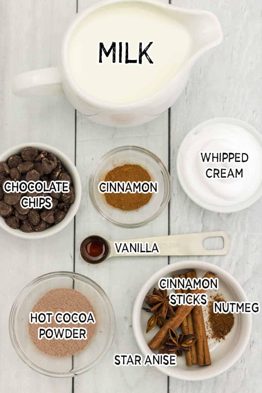 ingredients to make cinnamon hot chocolate