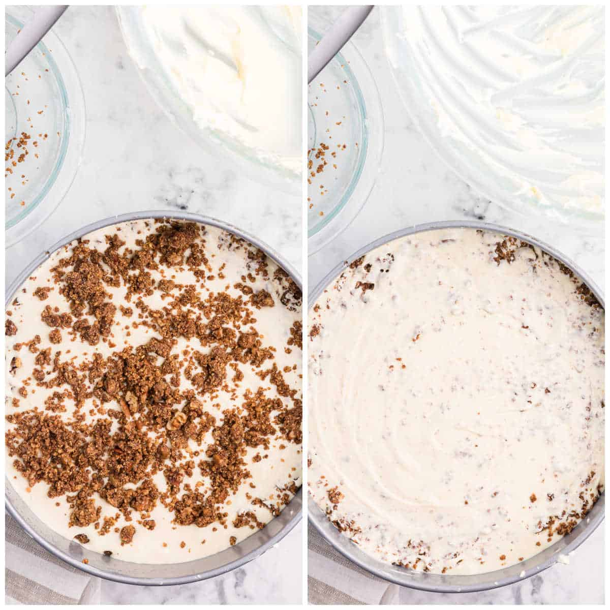 how to assemble the cinnamon roll cheesecake