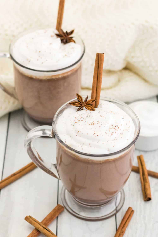 cinnamon hot chocolate in glass mugs