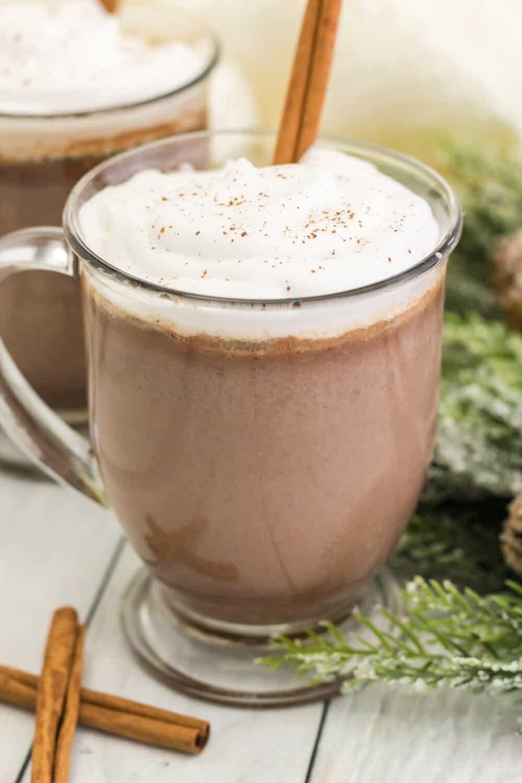 cinnamon hot chocolate in a glass mug