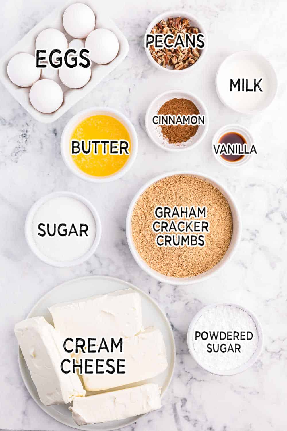 ingredients for cinnamon roll cheesecake