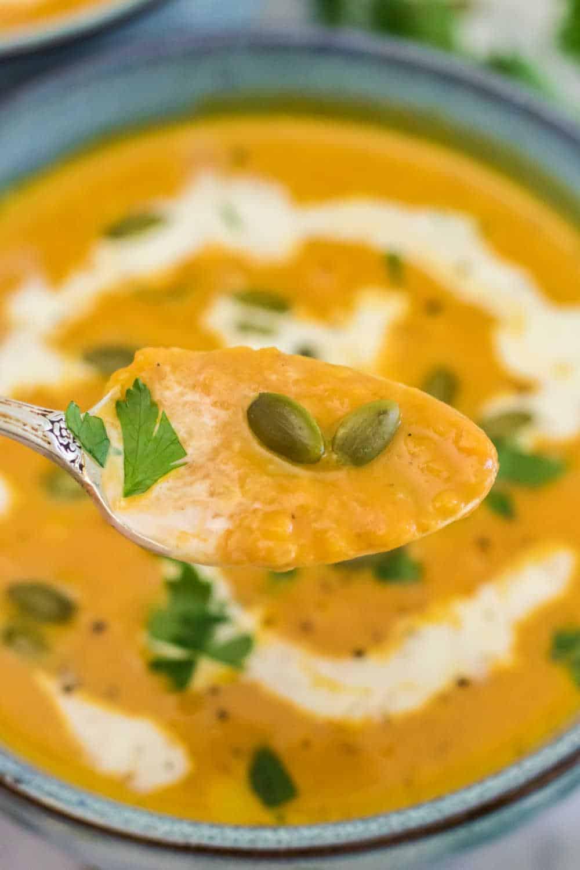 pumpkin soup on a spoon