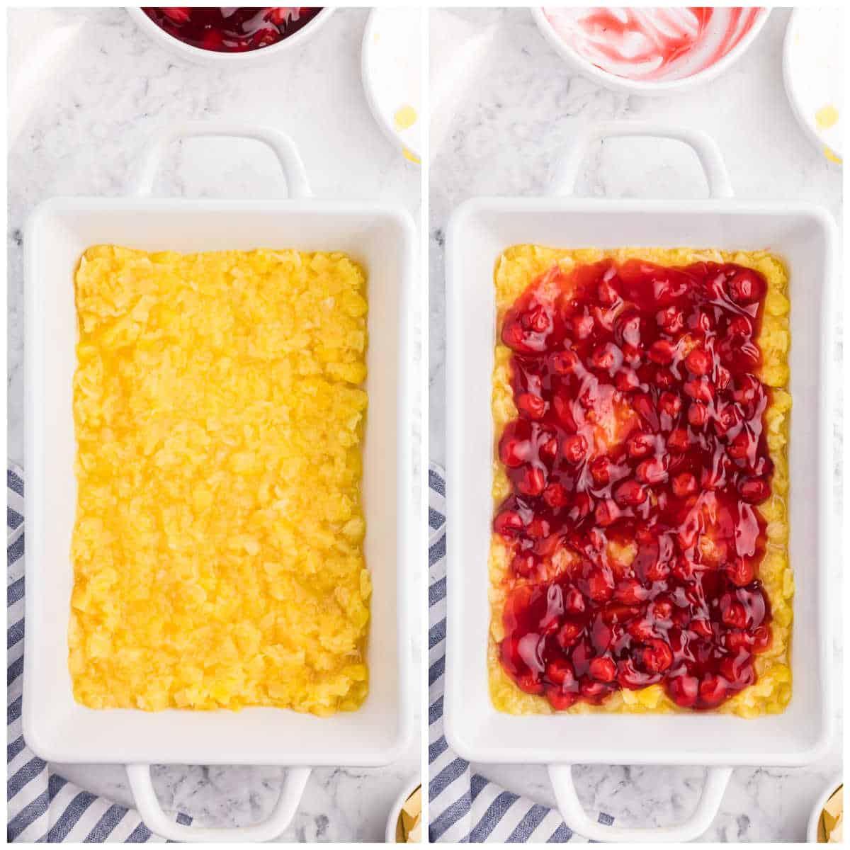cherry pineapple dump cake prep