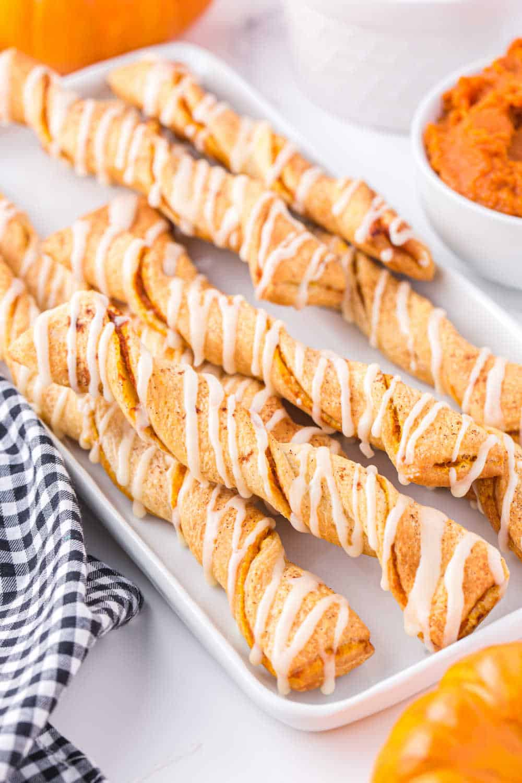A white platter with air fryer pumpkin pie twists