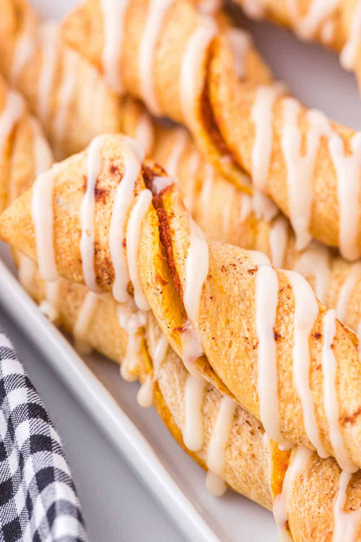air fryer pumpkin pie twists on a white platter