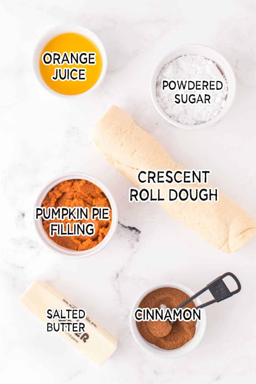 ingredients to make air fryer pumpkin pie twists